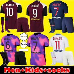 Homens crianças Maillots de kit de futebol 20 21 PSG camisa de futebol ICARDI Verratti de Futebol 2020 2021 Paris Mbappé Terceiro jerseys