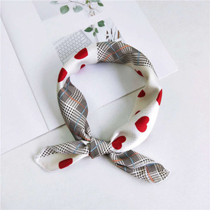 2019 New Women 50*50cm Spring Autumn Heart Print Small Square Scarves Female Headband Hair Tie Band Wrist Wrap Head Bandana