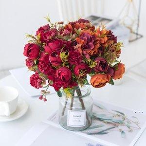 Rose künstliche Blumen Hohe Qualität Hortensie Hybrid Bouquet Seide Gefälschte Blume Herbst Dekoration DIY Hausgarten Hochzeit Handwerk BWD5251