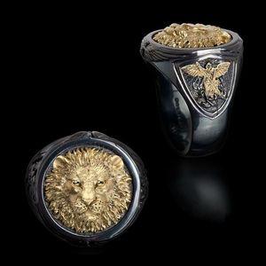 Fashion Cool Men's 18K Yellow Gold Two-tone Black Gold Diamond Ring Africa Grassland Lion Ring Men Wedding Party Jewelry Size 7 - 14