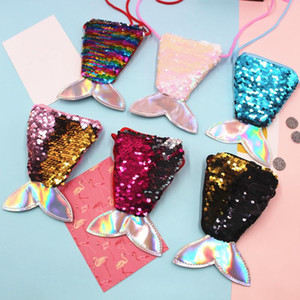 Children wallet Children Sequined Shoulder Bag Mini Mermaid Shape Messenger Bags Small Kids All-Match Key Coin Purse Cute Princess