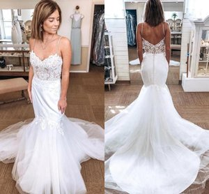 2021 Mermaid Wedding Dresses Illusion Top Lace Applique with Spaghetti Straps Covered Buttons Custom Made Wedding Bridal Gown vestidos