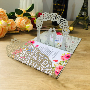 (10 pieces lot) 3D Pop-Up White Wedding Invitation Card Tti-folded Laser Cut Pocket Bride & Groom Greeting Invite Cards IC144
