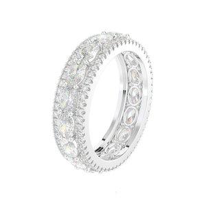 HBP Fashion роскошные ювелирные изделия Новые 18K платиновые покрытые полосовой женской полноценной алмазной группой, инкрустированные с овальным цирконом кольцо