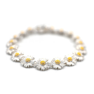 Ins star the same GD 925 sterling silver daisy anti-war bracelet, high sense bracelet, hip hop trend necklace, couple accessories