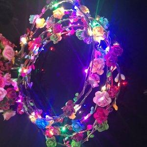 깜박이는 LED 문자열 광선 꽃 크라운 머리띠 가벼운 파티 레이브 꽃 머리 갈 랜드 빛나는 화환 결혼식 꽃 소녀 아이 장난감 안전하고