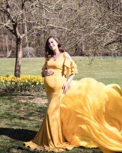 Elegant Shoulderless Maternity Photography Props Long Dress For Pregnant Women Fancy Pregnancy Dress Maxi Gown Photo Shoot