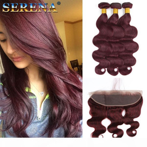 # 99J Vino Red Malasian Body Wave Human Hair Bundle Ofertas 3 unids con fronteras 4pcs lote Burgundy 13x4 Cierre frontal de encaje completo con tejidos