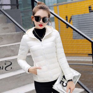 2021 High End Quality Office Suffice Ultra Light Одежда Тонкий Стенд Воротник Корейский Мать Негабаритное пальто Белый Женщин с капюшоном S