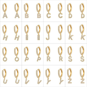 Fashion Cubic Zircon Initial A-Z Letter Earrings DIY Alphabet Drop Hoop Earings for Women Letters Pendant Earring Fashion Hip Hop Jewelry