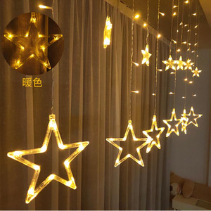 12 Stars 138 LED Curtain String Lights, Window Curtain Lights with 8 Flashing Modes Decoration for Christmas, Wedding, Party, H