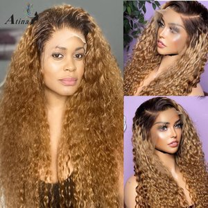 13x6 Ombre Honey Loira Human Human Hair Wig Onda Deep Curly HD Transparente Frontal Brazilian Wigs para as mulheres 130% Remy