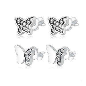 Fashion 925 Sterling Silver Butterfly Stud Earrings for Women Girls Beautiful Animal Earrings Moda Bijoux Jewelry gift