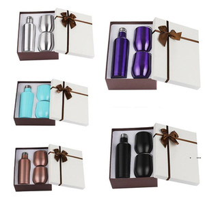 3pcs set Gift Wine Tumbler Set Stainless Steel Double Wall Insulated With One 500ML Bottle Two 12oz Wine Tumbler Vacuum Sets Gift EWF5173