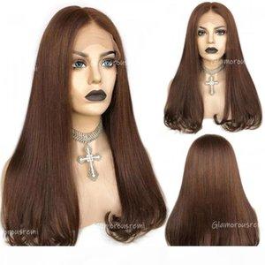 Parrucche anteriori del merletto dritto brasiliano con la densità dei capelli del bambino 150 nuova tendenza T Part parrucca dei capelli umani colorata 4 parrucche remy per donna