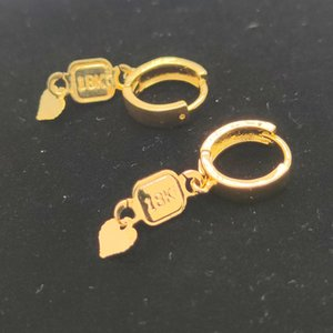 New Gift Wholehearted Ladies 18 K Stamp Yellow Gold Filled Solid Earrings Rococo Heart padlock Drop Dangles