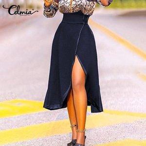 Celmia Fleece High Waist Skirt 여성 PU 가죽 밑단 빈티지 솔리드 A 라인 미디 스커트 캐주얼 파티 스트리트웨어 패션 슬릿