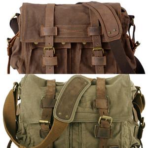 2020 Fashion Vintage Leather Men's Messenger Cotton Canvas Crossbody Men Shoulder Sling Casual Bag C0224