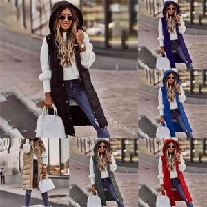 Knee Long Quilted Vest Winter Warm Sleeveless Puffer Padded Coat Longline Hooded Gilet Jackets Women Ladies casual Sport Outwear Body Warmer Clothing Tops G0224RW