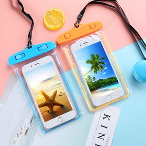 Bolsa impermeable noctiluciente PVC Bolsa de teléfono móvil Bolsa de teléfono móvil Funda para teléfono celular para bucear deportes de natación para iPhone 6 7/6 7 Plus S 6 7 Note 7 GRABLE GRATUITO