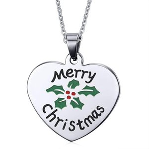 Pendants Christmas Gift Stainless Steel Pendant Necklace Love Heart Tag For Women Men Merry Present Fashion Jewelry