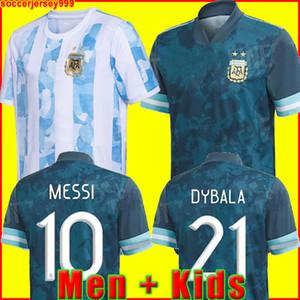 2020 아르헨티나 축구 저지 코파 아메리카 멀리 축구 셔츠 MESSI DYBALA AGUERO LO CELSO MARTINEZ TAGLIAFICO 남성 + 키즈 키트 유니폼