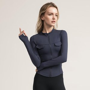 Yoga Outfits SALSPOR Sexy Women Military Style Sport Jacket Solid Color Zipper Pocket Long Sleeve Gym Top Woman Shirts Fitness Clothes