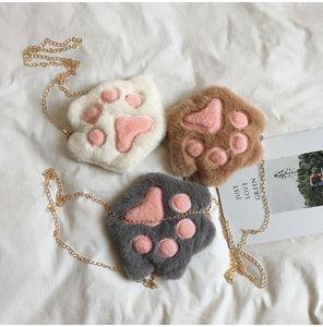 Cute Bear Paw Zipper Shoulder Bag Cartoon Childrens Soft Plush Coin Purse Baby Boys Accessories Small Crossbody Bags GWA3717