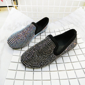 Womens Flat Shoes 2019 Spring Autumn Fashion Rhinestone Loafers For Woman Slip On Comfortable Shoes Non Slip Flats Female Shoe Italian s9oQ#