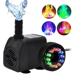 10W Ultra Quiet Submersible Water Fountain Filter Fish Pond Aquarium Water Pump Tank Fountain With 12 Lights Y200917