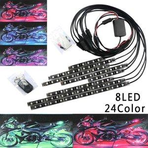 Neue flexible 8pcs / 6pcs 24color mit RGB SMD-Motorrad RGB-LED-Atmosphäre-Lichtstreifen-Akzent-Neonlampe mit Fernbedienung