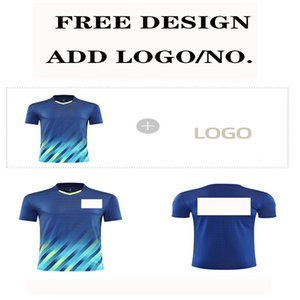 Jersey Custom Printed LOGO New badminton clothes summer team training class clothing DIY table tennis T-shirt Male and female children Note blue or green