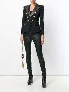 XXXL 128 2021 Bahar Marka Aynı Stil Ceket Yaka Boyun Siyah Uzun Kollu Ceket Düğmesi Bayan Giysileri Moda Dilunman