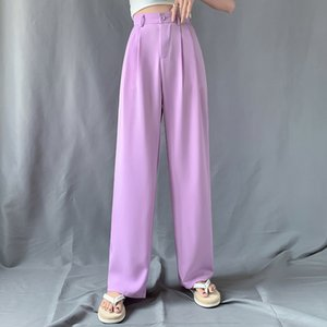New 2021 Straight Large Size Casual Solid Wide Leg Trousers Streetwear Full-length Fashio Chic Elegant Tide Pants WHFX