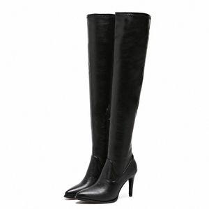Over-the-knee botas mulheres elásticas negras inverno botas fina montanhas de salto alto senhoras sexy apontado toe sapatos botas mujer 2019 z8ew #