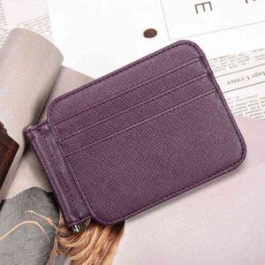 Split Leather Money Clips Men Women Short Credit Wallet Multi-purpose Cash Dollar Clip ID Cards Set