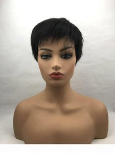 KZX-NAN7 New High Quality Human Hair Natural black Men's Wig Fashion Super Model Short Wig Straight hair inclined bang head Men Style