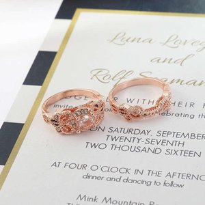 Cluster Rings Fashion Ring Set Jewelry Rose Gold Color Wedding Gift Morganite Sz5-12 Women