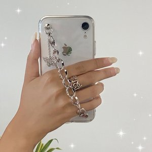 Crystal butterfly Chain Wrist Strap Phone Case For Xiaomi Redmi Note9 Pro Note8 Note7 Note6 Note5 9A 9C 8A 7A Transparent Cover