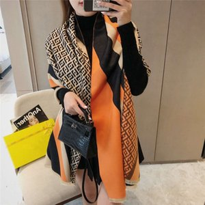 Letter women's winter new Korean color Plaid patchwork shawl warm cashmere blended scarf