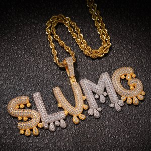 Personalized Custom Name Necklaces Drip Iced Out Bubble Letters Pendant Sier Rose Gold Rope Chains for Women & Men Hip Hop Jewelry