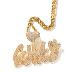 Hip Hop Simulated Diamond A-Z Custom Name Bubble Letters Pendant Necklace Heart Shape Lover Gift for Men Women 18K Gold Silver Plated