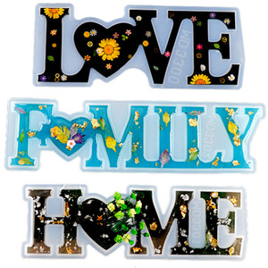 Love Home Family Silicone Mold Love Resin Mold Love Sign Word Mold Epoxy Resin Molds for DIY Table Decoration Art Crafts GWE3492