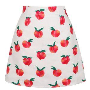 Skirts Beige Peach Fruit Print Women Skirt SS0008 High Waist Vintage Fashion Casual Summer Beach Mini Sexy Short