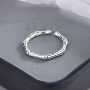 Simple Style Bamboo Joint Open Ring Silver Gold Women Cute Finger Rings for Gift Party Fashion Jewelry Accessories C3