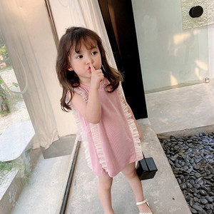 Baby Girls Bowknot Princess Dress Summer Cute Children Lace Ruffle Sleeveless Casual Dress Lolita Kids Party Dress B018
