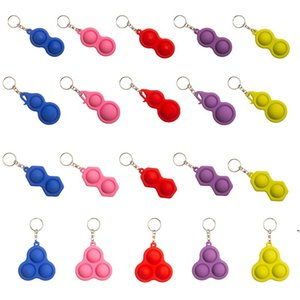 Multishape Fidget simple dimple toy keychain hot push bubble pop it fidget toys Key ring holder bag pendant stree relief toys AHB5303