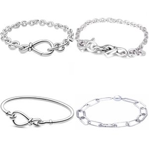 Me Link Pattern Chunky Infinity Knotted Heart-embellished T-clasp 925 Sterling Silver Bracelet Fit Fashion Bangle Bead Charm C0225