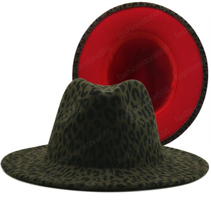 Wide Brim Army Green Leopard Red Bottom Fedora Ladies Wool Felt Hat Women Men Party Trilby Jazz Church Hats Patchwork Panama Cap