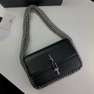 Metal Chain Decoration Black Women Shoulder Bag Retro Style 2021 Creative Buttons Handbag With Gift Box